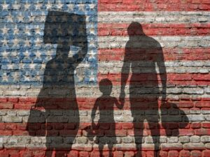 Family of immigrants come to the united states